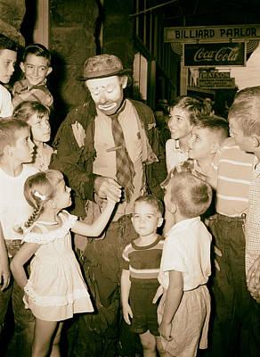 Sad Clown Photograph - The Famous Clown Emmett Kelly 1956 by Mountain Dreams