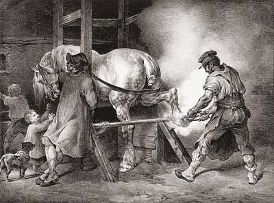 Horses Drawing - The Farrier, From Etudes De Cheveaux by Theodore Gericault
