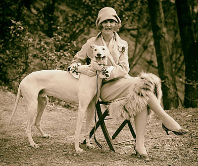 Greyhound Photograph - The First Miss America Margaret Gorman And Her Pet Greyhound 1925 by Mountain Dreams