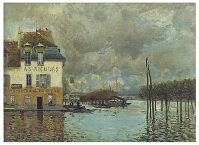 Flooding Painting - The Flood At Port-marly by Alfred Sisley