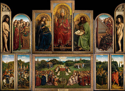 Crucifix Art Painting - The Ghent Altarpiece Open by Jan Van Eyck