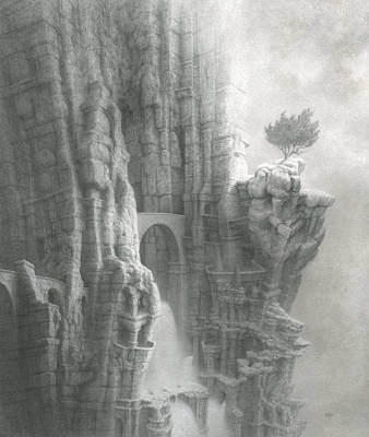 Pencil Drawing Waterfall Drawing - The Gift Within by Mark  Reep