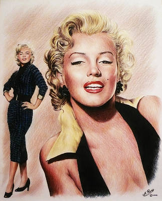Famous Faces Drawing - The Glamour Days Marilyn Monroe by Andrew Read