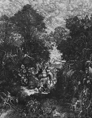 Leaf Drawing - The Good Samaritan by Rodolphe Bresdin