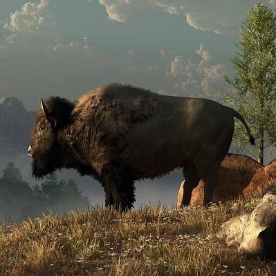 Bison Digital Art - The Great American Bison by Daniel Eskridge