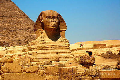 Art Print featuring the photograph The Great Sphinx Of Giza And Pyramid Of Khafre by Joe  Ng