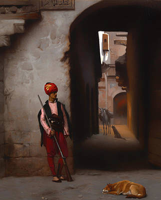 Alleyway Painting - The Guard by Mountain Dreams