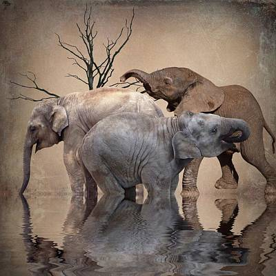 Elephants Digital Art - The Herd by Sharon Lisa Clarke