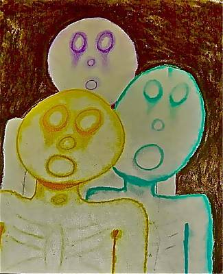 Drawing - The Hollow Men 88 - Three Walkers by Mario Perron