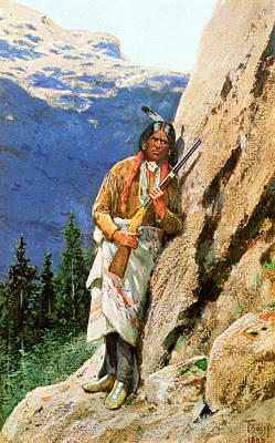 Beautiful Cowboy Art Photograph - The Hunter by Henry Farny