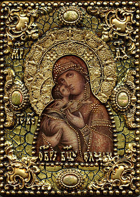Russian Icon Mixed Media - The Image Of The Mother Of God by Michael Razdolsky