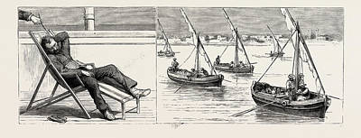 Lemon Drawing - The Indian Relief Trooping Season, Passing Through The Suez by Indian School