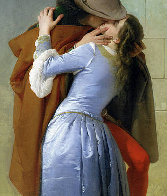 Silk Painting - The Kiss by Francesco Hayez