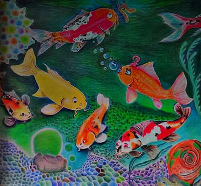 Drawing - The Koi Life by Denisse Del Mar Guevara