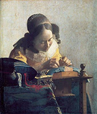Johannes Vermeer Wall Art - Painting - The Lacemaker by Johannes Vermeer