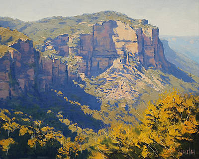 Mountain Valley Painting - The Landslide Katoomba by Graham Gercken