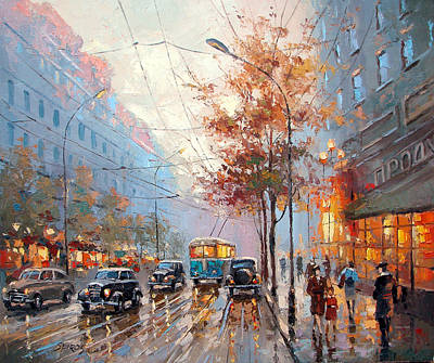 Crosswalk Painting - The Lights Of The City by Dmitry Spiros