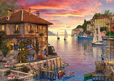 Harbour Drawing - The Mediterranean Harbour by Dominic Davison