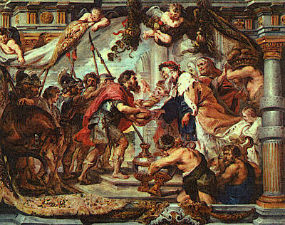 Angel Art Painting - The Meeting Of Abraham And Melchizedek by Peter Paul Rubens