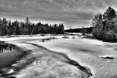 Snow Scenes Photograph - The Melting Of The Moose River - Old Forge New York by David Patterson