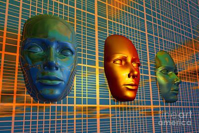 Bronze Mask Digital Art - The Modern Face Of Robotics by Mark Stevenson