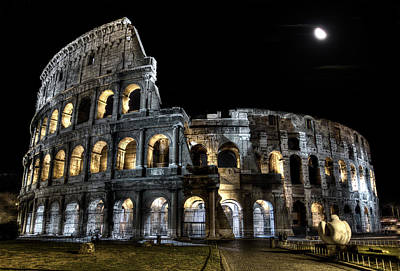 Photograph - The Moon Above The Colosseum No2 by Weston Westmoreland