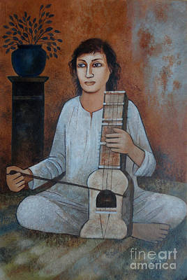 Indian Musical Instrument Painting - The Musician by Jaspal Singh