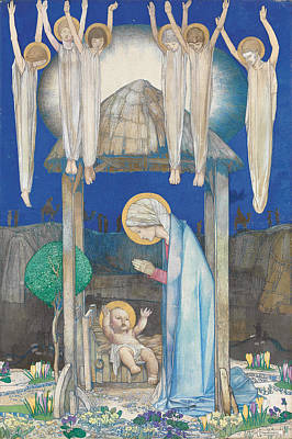 Baby Angel Drawing - The Nativity by Edward Reginald Frampton