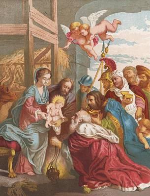 Nativity Painting - The Nativity by English School