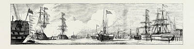 The Naval Review At Spithead Victoria And Albert Passing Art Print by English School