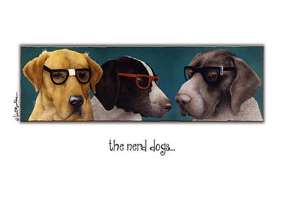 Hunting Dog Painting - The Nerd Dogs... by Will Bullas