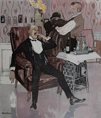 Nightcaps Drawing - The Nightcap, German by Gotz, Ferdinand (1874-1936), German