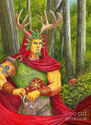 Midsummer Eve Painting - The Oak King by Melissa A Benson
