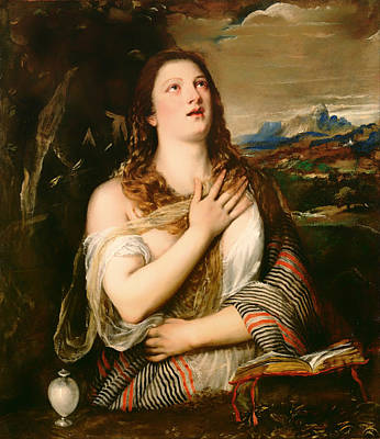 Christian Artwork Painting - The Penitent Magdalene by Mountain Dreams