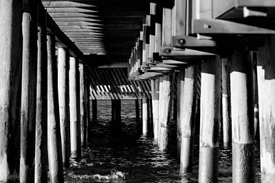 Sky Line Mixed Media - The Pier In Black And White by Tommytechno Sweden