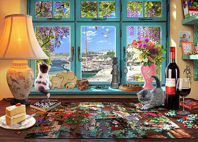 Puzzle Painting - The Puzzler's Desk by Steve Read
