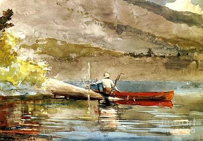Painting - The Red Canoe by Roberto Prusso