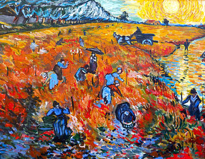 Tr Painting - The Red Vineyards by Tom Roderick