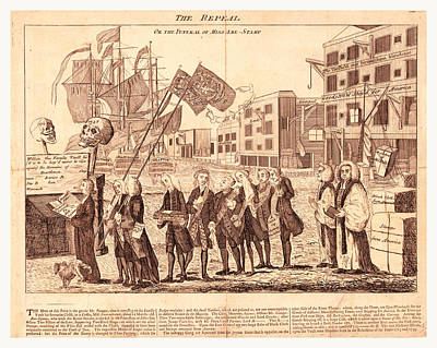 Popular Culture Drawing - The Repeal, Or The Funeral Of Miss Ame=stamp by English School