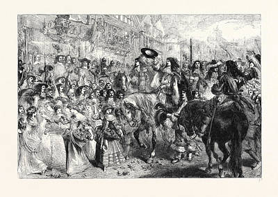 Restoration Drawing - The Restoration Of Charles II by Gilbert, Sir John (1817-97), English