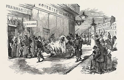 Art Mobile Drawing - The Revolution In France Taking The Wounded To The Ambulance by French School