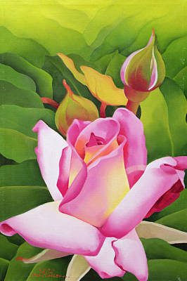 Rose Bud Photograph - The Rose, 2002 Oil On Canvas by Myung-Bo Sim