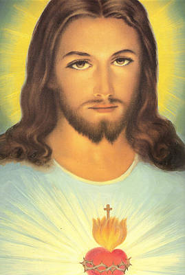 Christian Sacred Painting - The Sacred Heart Of Jesus by French School