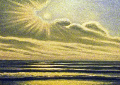 The Sea Clouds And Sun Art Print