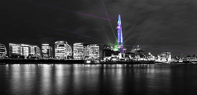 London Skyline Photograph - The Shard Lasers by Dawn OConnor