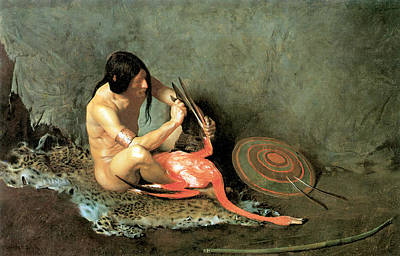 Native American Nude Photograph - The Shield Maker by George De Forest Brush