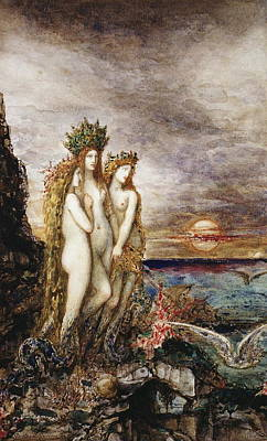 Seacoast Drawing - The Sirens by Gustave Moreau