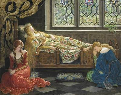 Pre-raphaelite Painting - The Sleeping Beauty by Philip Ralley