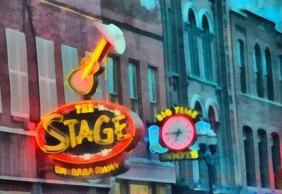 Downtown Nashville Painting - The Stage On Broadway by Dan Sproul