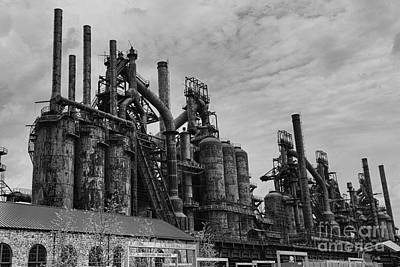 Steam Punk Photograph - The Steel Mill In Black And White by Paul Ward